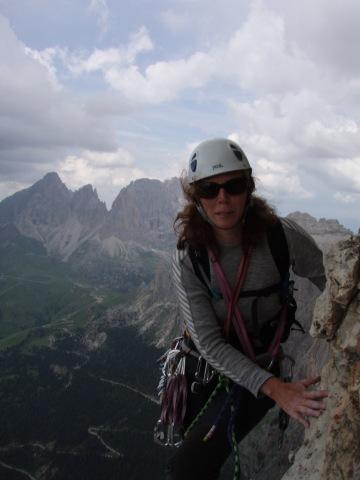 På väg upp för en av topparna i Dolomiterna 2006
