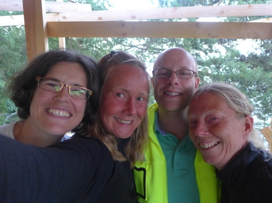 Foto från vattentornet. Ellinor, Kristina, Per och jag.