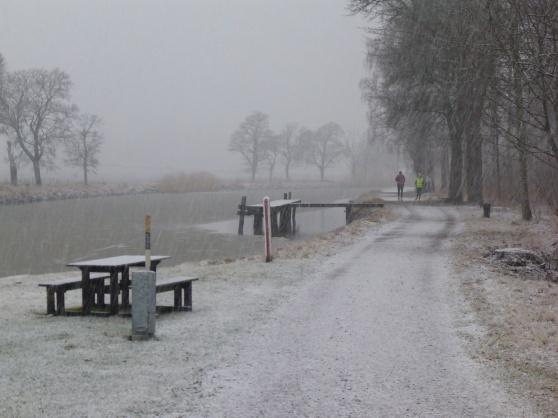 Här har snön tilltagit en del. Världen blev bara vitare och vitare. Nu är marken täckt med ett snölager.