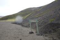 Framme vid Landmannalaugur och på väg på vår första vandring. En rundtur på dryga 8 kilometer med fantastiska vyer.
