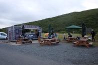 Vid campingen vid Skaftafell. Ett mobilt matställe där vi åt en jättegod räksoppa!